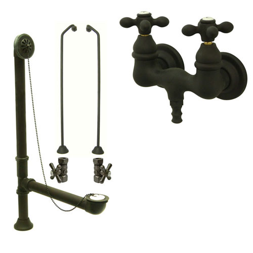 Oil Rubbed Bronze Wall Mount Clawfoot Bath Tub Filler Faucet Package CC37T5system