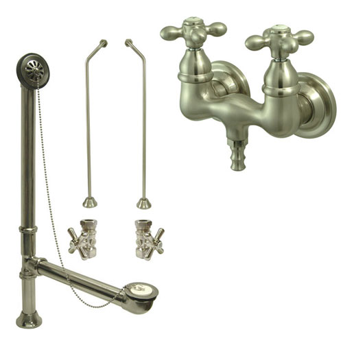 Satin Nickel Wall Mount Clawfoot Bath Tub Faucet Package Supply Lines & Drain CC37T8system