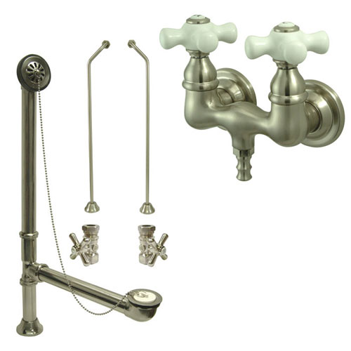 Satin Nickel Wall Mount Clawfoot Tub Faucet Package Supply