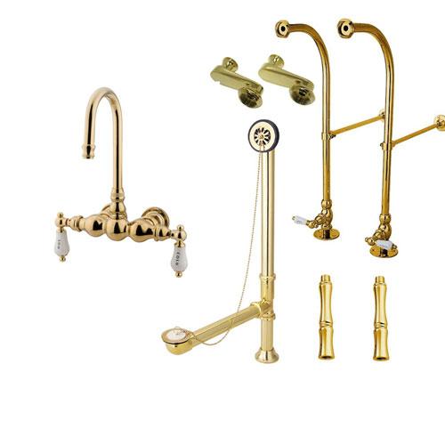 Freestanding Floor Mount Polished Brass Hot/Cold Porcelain Lever Handle Clawfoot Tub Filler Faucet Package 3T2FSP