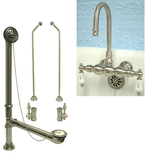 Satin Nickel Wall Mount Clawfoot Tub Faucet Package Supply Lines & Drain CC3T8system