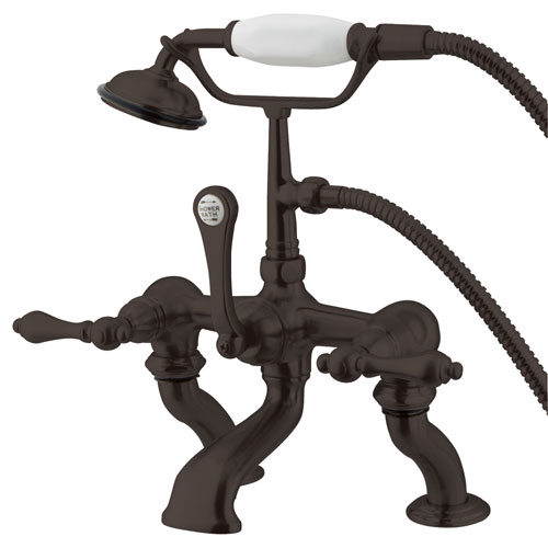 Kingston Oil Rubbed Bronze Deck Mount Clawfoot Tub Faucet w hand shower CC409T5
