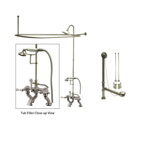 Satin Nickel Clawfoot Tub Faucet Shower Kit with Enclosure Curtain Rod 409T8CTS