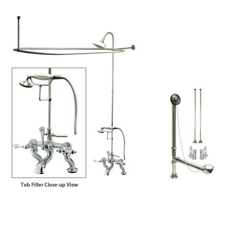 Chrome Clawfoot Bath Tub Faucet Shower Kit with Enclosure Curtain Rod 410T1CTS