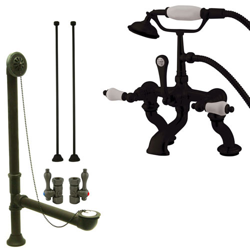 Oil Rubbed Bronze Deck Mount Clawfoot Tub Faucet Package w Drain Supplies Stops CC411T5system