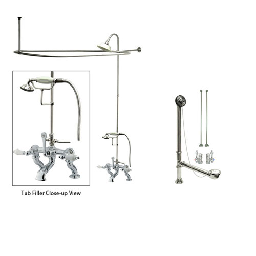Chrome Clawfoot Tub Faucet Shower Kit with Enclosure Curtain Rod 412T1CTS