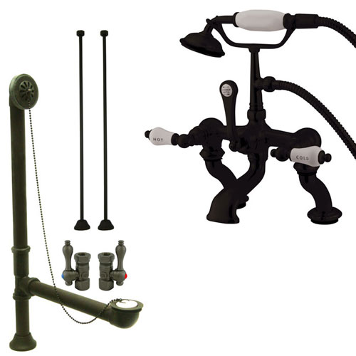 Oil Rubbed Bronze Deck Mount Clawfoot Tub Faucet Package w Drain Supplies Stops CC413T5system