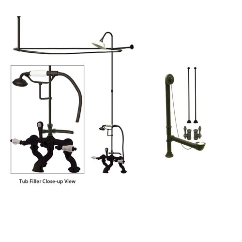 Oil Rubbed Bronze Clawfoot Tub Faucet Shower Kit with Enclosure Curtain Rod 413T5CTS