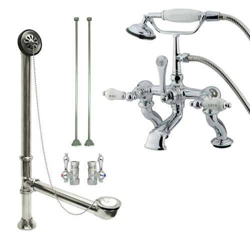 Chrome Deck Mount Clawfoot Tub Faucet w hand shower w Drain Supplies Stops CC414T1system