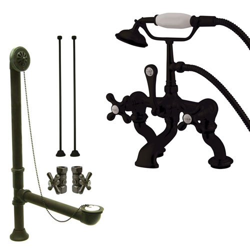 Oil Rubbed Bronze Deck Mount Clawfoot Tub Faucet Package w Drain Supplies Stops CC415T5system
