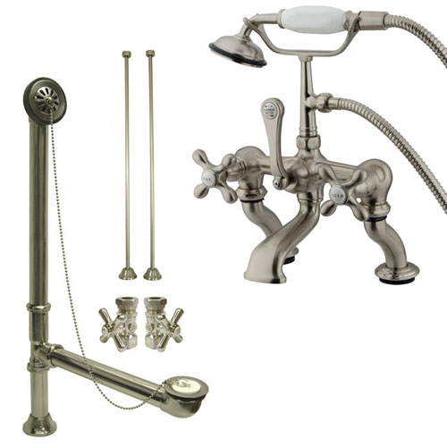 Satin Nickel Deck Mount Clawfoot Tub Faucet w hand shower w Drain Supplies Stops CC415T8system
