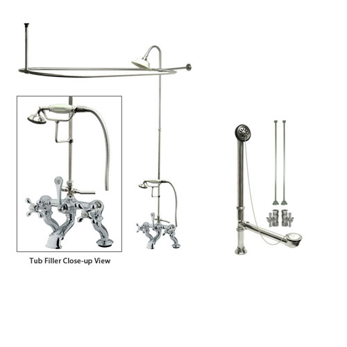 Chrome Clawfoot Tub Faucet Shower Kit with Enclosure Curtain Rod 416T1CTS