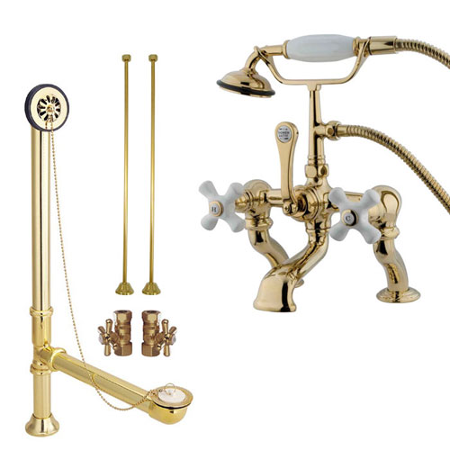 Polished Brass Deck Mount Clawfoot Tub Faucet Package w Drain Supplies Stops CC417T2system