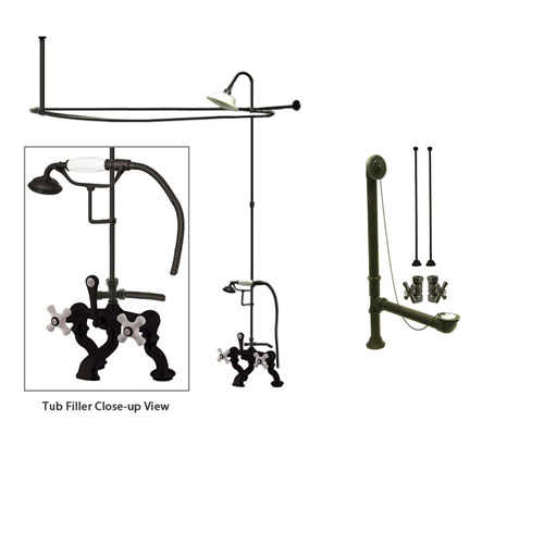 Oil Rubbed Bronze Faucet Clawfoot Tub Shower Kit with Enclosure Curtain Rod 417T5CTS