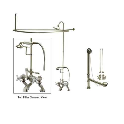 Satin Nickel Clawfoot Tub Faucet Shower Kit with Enclosure Curtain Rod 417T8CTS
