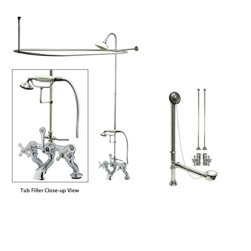Chrome Clawfoot Tub Faucet Shower Kit with Enclosure Curtain Rod 418T1CTS