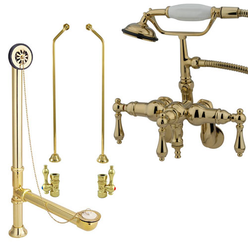 Polished Brass Wall Mount Clawfoot Tub Faucet Package w Drain Supplies Stops CC419T2system