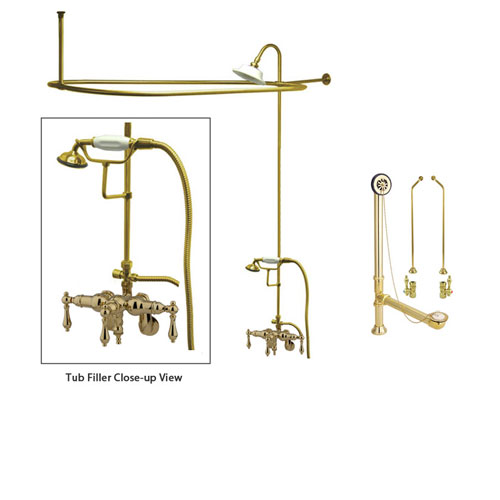 Polished Brass Faucet Clawfoot Tub Shower Kit with Enclosure Curtain Rod 419T2CTS