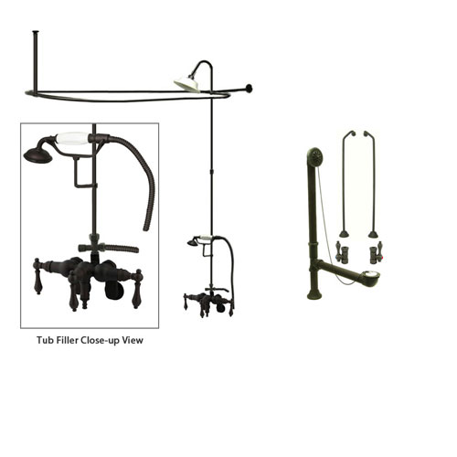 Oil Rubbed Bronze Clawfoot Tub Faucet Shower Kit with Enclosure Curtain Rod 419T5CTS