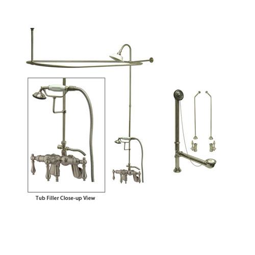 Satin Nickel Clawfoot Tub Faucet Shower Kit with Enclosure Curtain Rod 419T8CTS