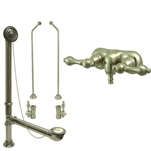 Satin Nickel Wall Mount Clawfoot Tub Faucet Package w Drain Supplies Stops CC41T8system