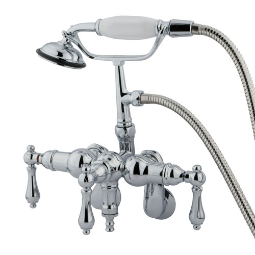 Kingston Brass Chrome Wall Mount Clawfoot Tub Faucet w hand shower CC420T1