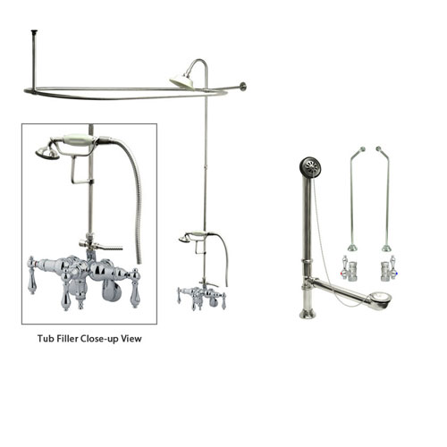 Chrome Clawfoot Bath Tub Faucet Shower Kit with Enclosure Curtain Rod 420T1CTS