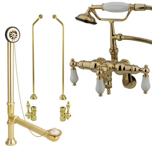 Polished Brass Wall Mount Clawfoot Tub Faucet Package w Drain Supplies Stops CC421T2system