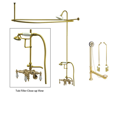Polished Brass Clawfoot Tub Faucet Shower Kit with Enclosure Curtain Rod  421T2CTS