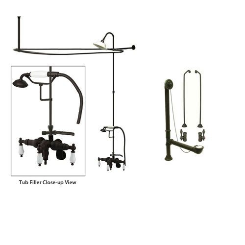 Oil Rubbed Bronze Clawfoot Tub Faucet Shower Kit with Enclosure Curtain Rod 421T5CTS