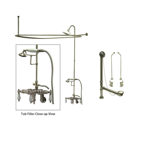 Satin Nickel Clawfoot Tub Faucet Shower Kit with Enclosure Curtain Rod 421T8CTS
