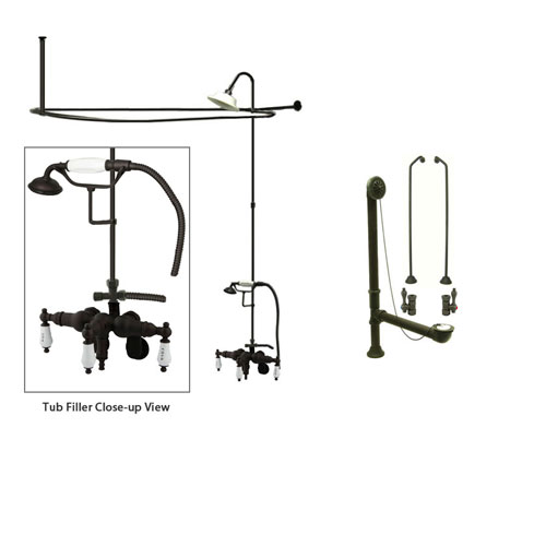 Oil Rubbed Bronze Clawfoot Tub Faucet Shower Kit with Enclosure Curtain Rod 423T5CTS