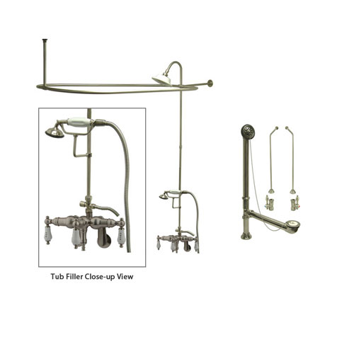 Satin Nickel Clawfoot Tub Faucet Shower Kit with Enclosure Curtain Rod 423T8CTS