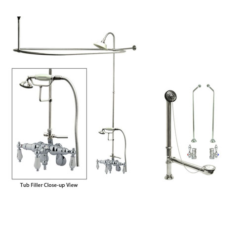 Chrome Clawfoot Tub Faucet Shower Kit with Enclosure Curtain Rod 424T1CTS