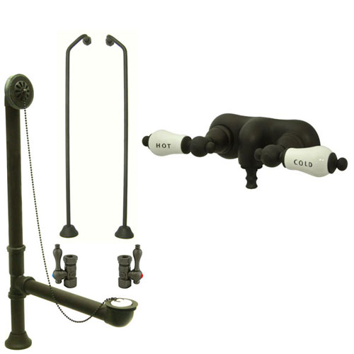 Oil Rubbed Bronze Wall Mount Clawfoot Tub Faucet Package w Drain Supplies Stops CC43T5system