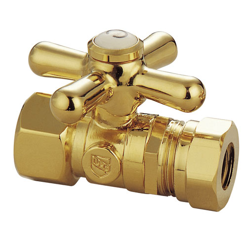 Kingston Polished Brass Cross Handle Clawfoot Tub Straight Supply Stop CC44152X