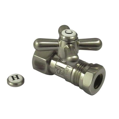 Kingston Satin Nickel Cross Handle Clawfoot Tub Straight Supply Stop CC44158X