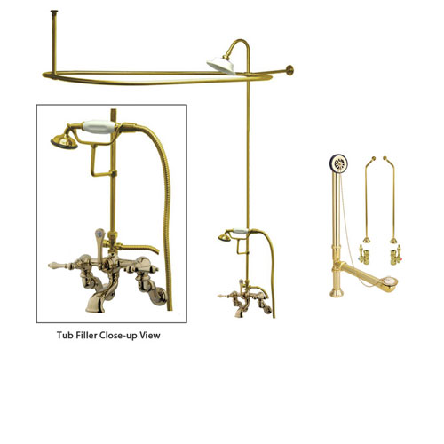 Polished Brass Clawfoot Tub Faucet Shower Kit with Enclosure Curtain Rod 457T2CTS
