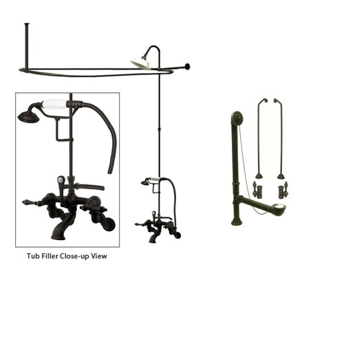 Oil Rubbed Bronze Clawfoot Tub Faucet Shower Kit with Enclosure Curtain Rod 457T5CTS