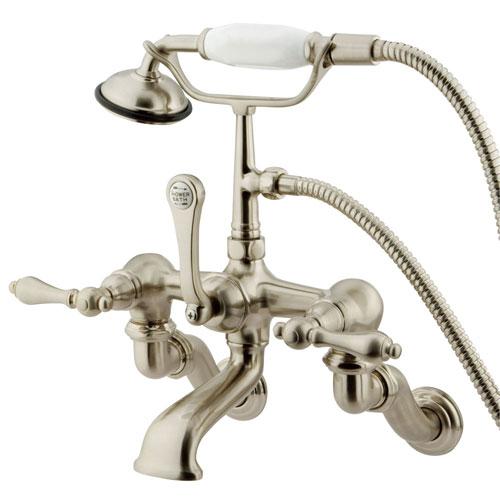 Kingston Brass Satin Nickel Wall Mount Clawfoot Tub Faucet w hand shower CC457T8