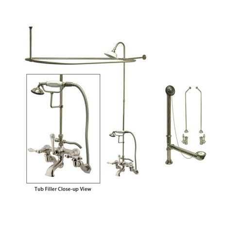 Satin Nickel Clawfoot Tub Faucet Shower Kit with Enclosure Curtain Rod 457T8CTS