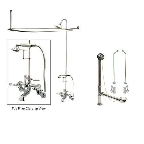 Chrome Clawfoot Tub Faucet Shower Kit with Enclosure Curtain Rod 458T1CTS