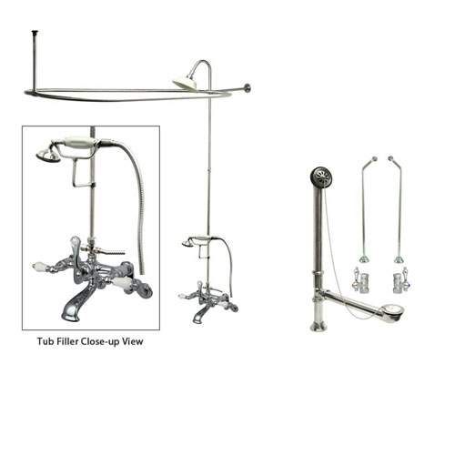 Chrome Clawfoot Tub Faucet Shower Kit with Enclosure Curtain Rod 460T1CTS