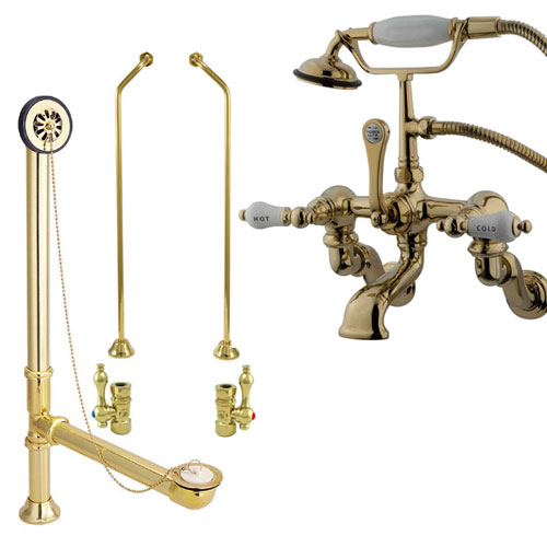 Polished Brass Wall Mount Clawfoot Tub Faucet Package w Drain Supplies Stops CC461T2system