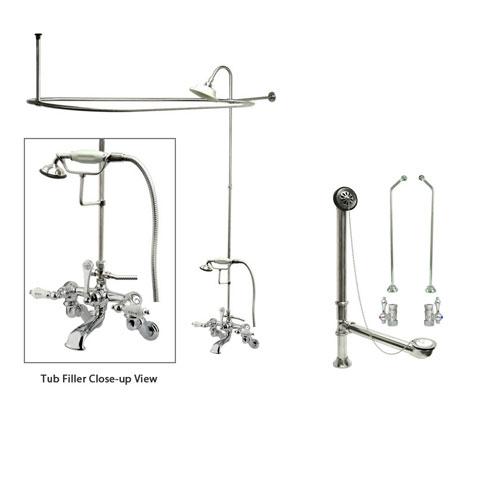 Chrome Clawfoot Tub Faucet Shower Kit with Enclosure Curtain Rod 462T1CTS