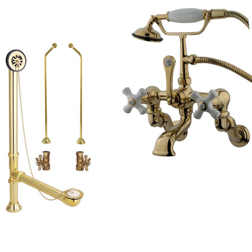 Polished Brass Wall Mount Clawfoot Tub Faucet Package w Drain Supplies Stops CC465T2system