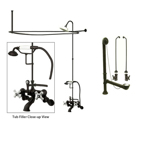 Oil Rubbed Bronze Faucet Clawfoot Tub Shower Kit with Enclosure Curtain Rod 465T5CTS