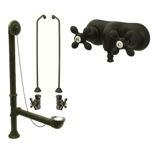 Oil Rubbed Bronze Wall Mount Clawfoot Tub Faucet Package w Drain Supplies Stops CC47T5system