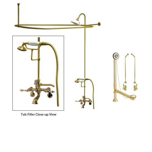 Polished Brass Clawfoot Tub Faucet Shower Kit with Enclosure Curtain Rod 51T2CTS