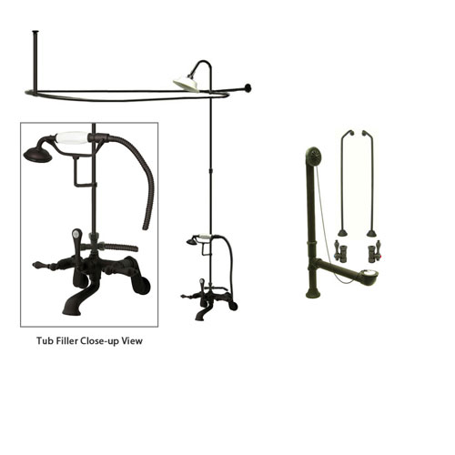 Oil Rubbed Bronze Clawfoot Tub Shower Faucet Kit with Enclosure Curtain Rod 51T5CTS